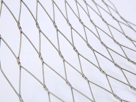 There is an interwoven wire rope mesh.